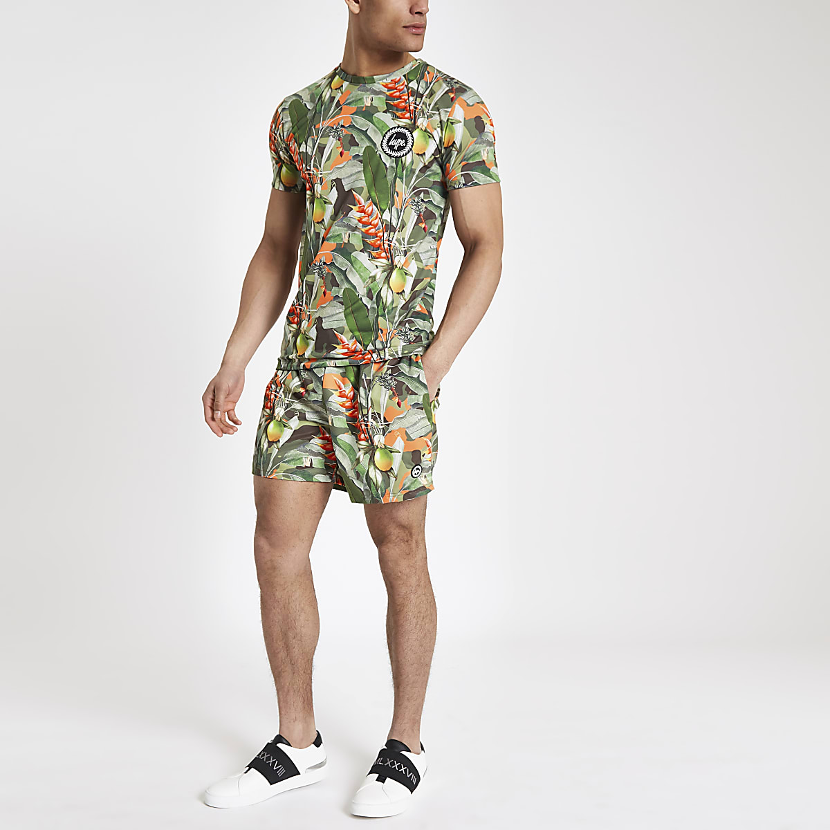 Hype green tropical print T-shirt