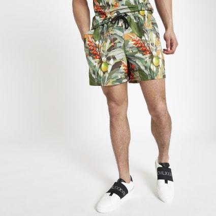 Hype green tropical print swim shorts