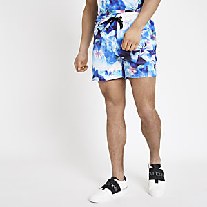 Hype blue floral print swim trunks