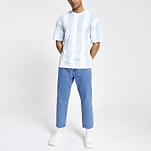Only & Sons - Blauw gestreept oversized T-shirt