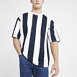 Only & Sons – T-shirt oversize rayé bleu marine