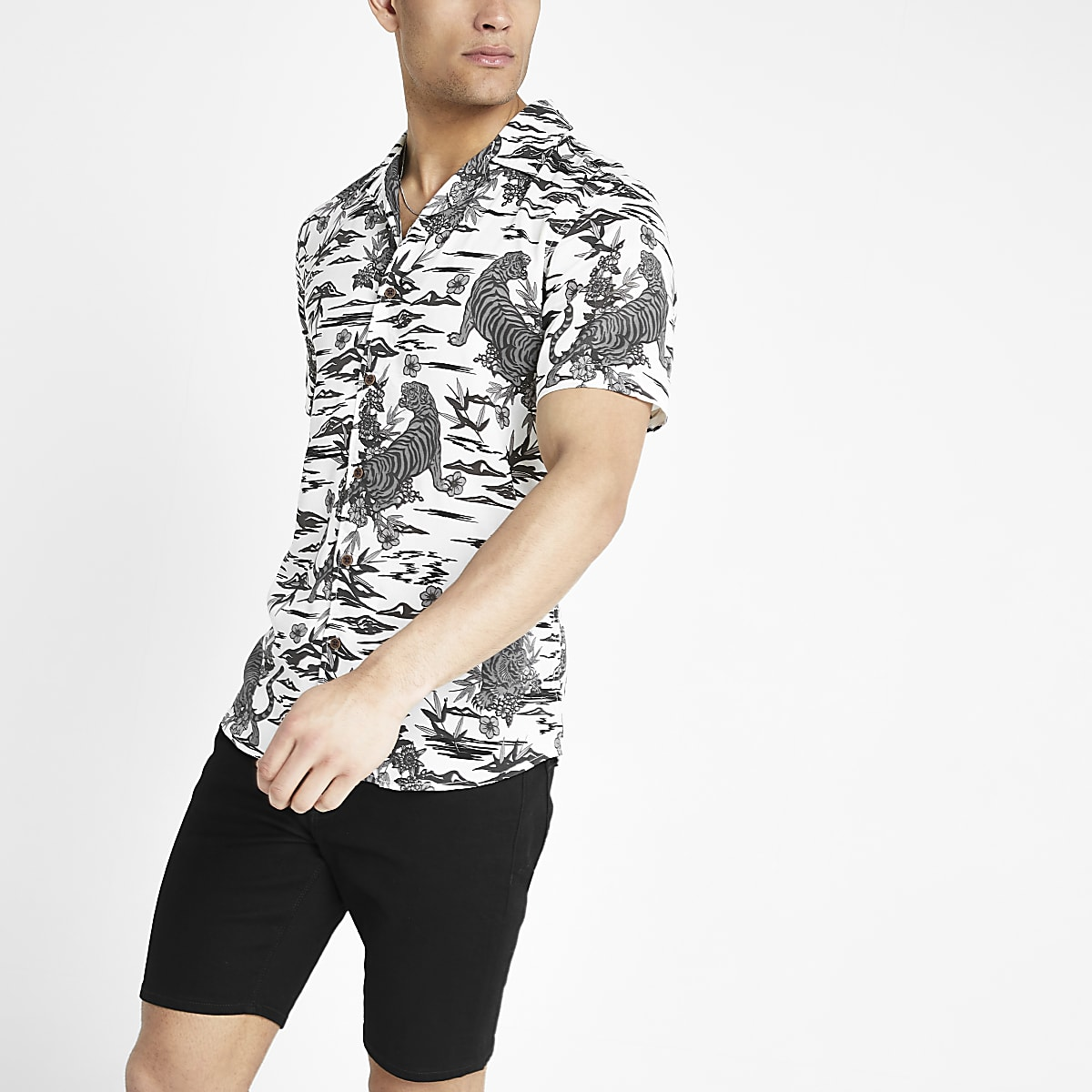 Only & Sons white tiger print shirt