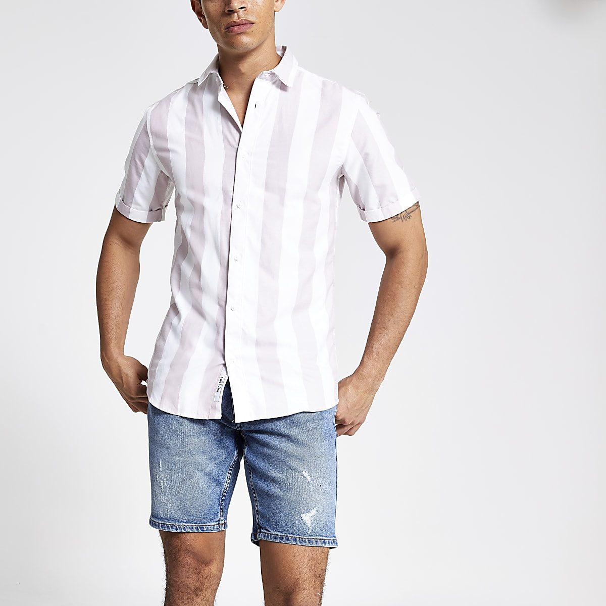 Only & Sons purple stripe short shirt