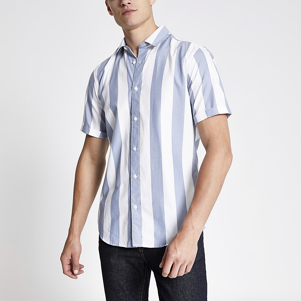 Only & Sons navy stripe shirt