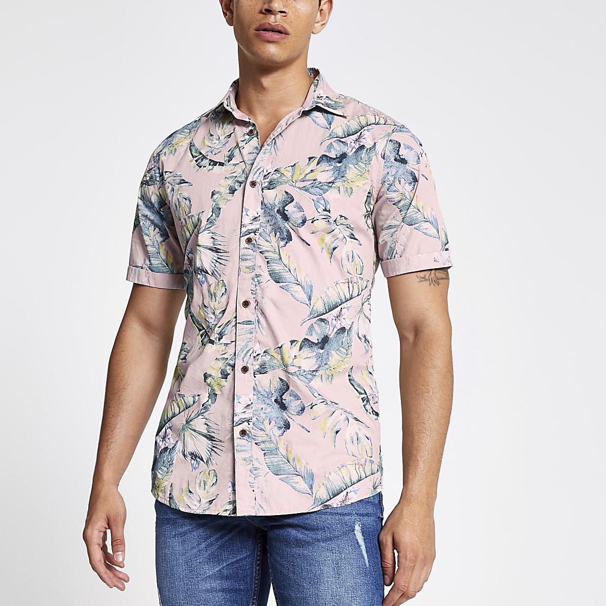 Only & Sons purple leaf print slim fit shirt