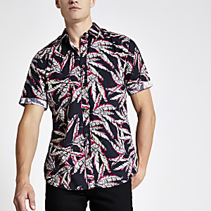 Only & Sons black leaf print short shirt