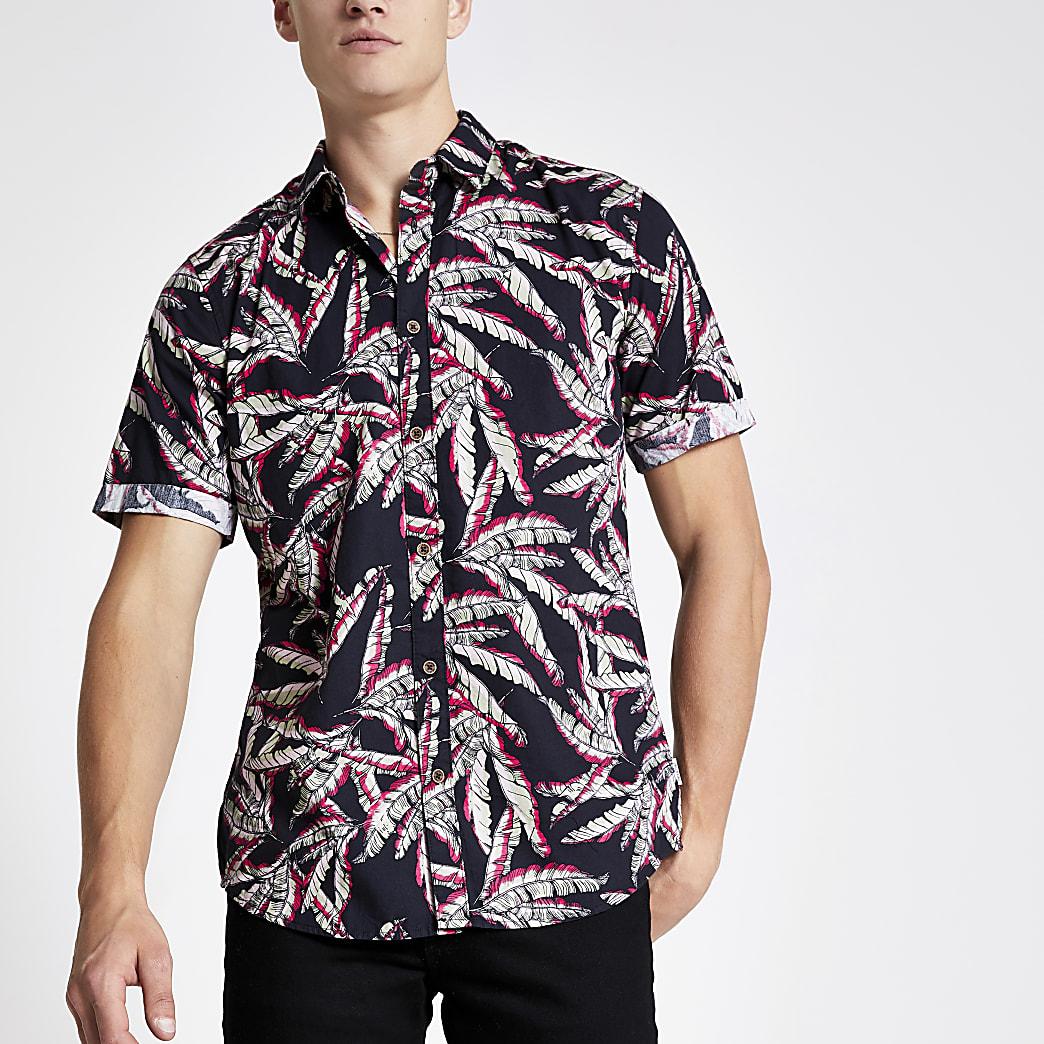 Only & Sons black leaf print short shirt