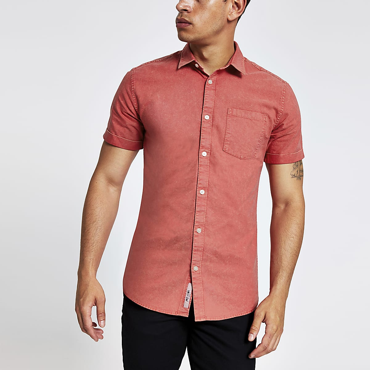 Only & Sons – Rotes, kurzärmeliges Hemd