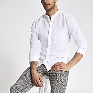 Only & Sons white slim fit linen shirt