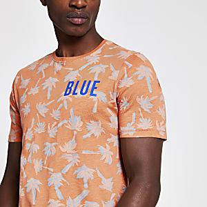Only & Sons – Oranges T-Shirt mit tropischem Print