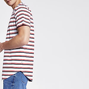 Only & Sons white stripe longline T-shirt