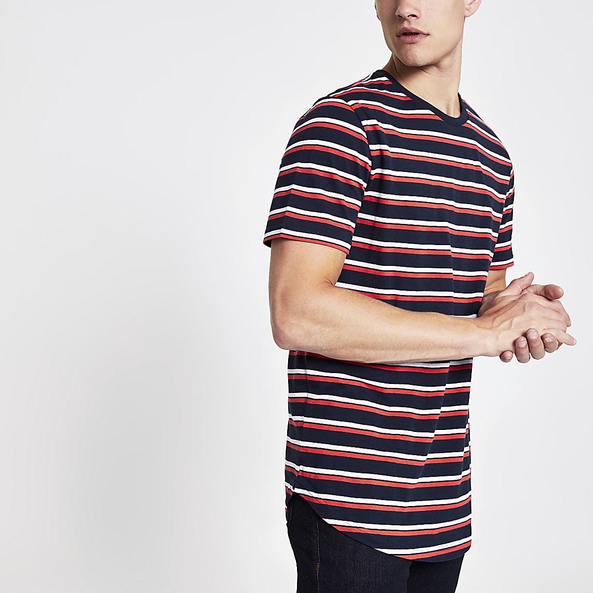 Only & Sons navy stripe longline T-shirt