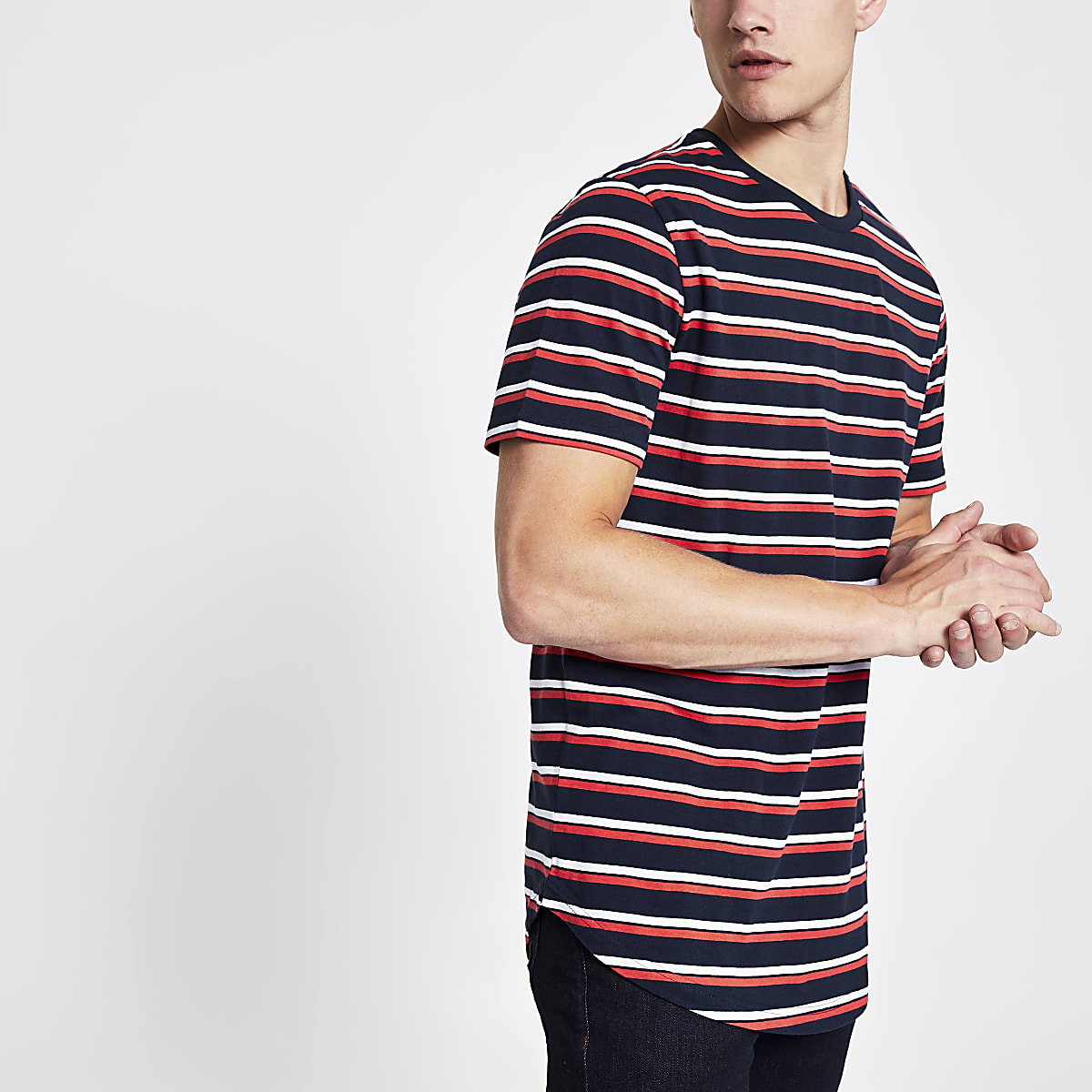 Only & Sons navy stripe longline T-shirt