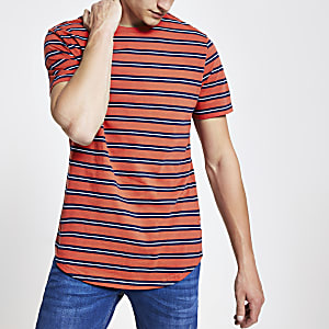 Only & Sons - Rood gestreept lang T-shirt