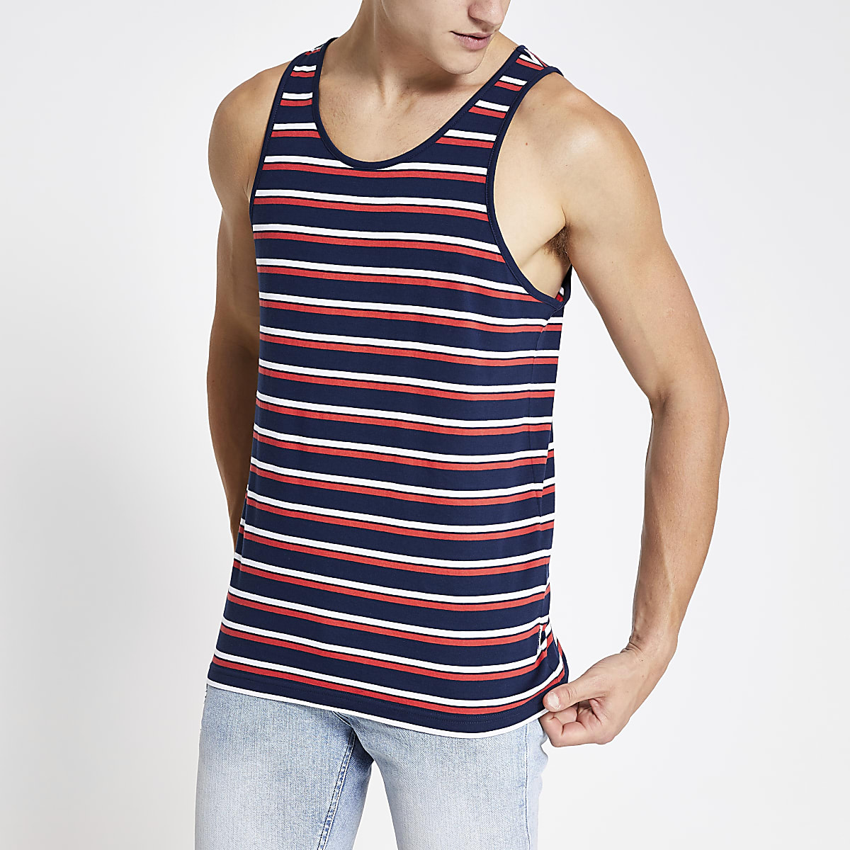 Only & Sons navy stripe tank top