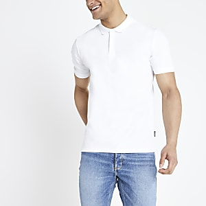 Only & Sons white pique polo shirt