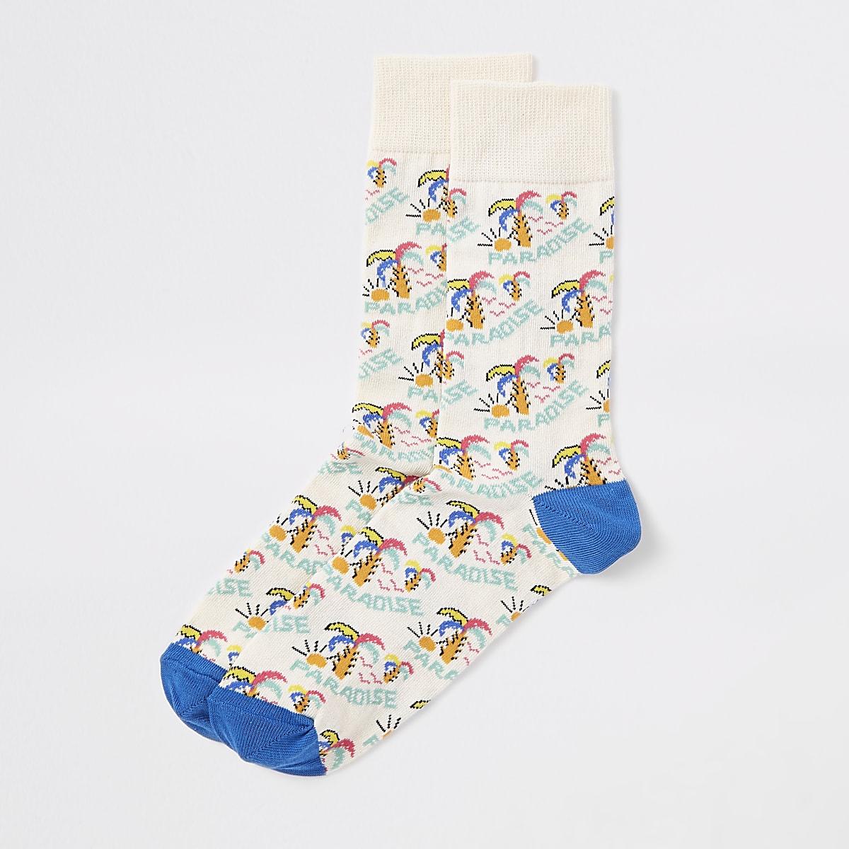 Yellow 'Paradise' print socks