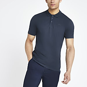 Only & Sons navy pique polo shirt