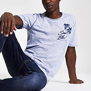 Only & Sons – T-shirt à imprimé palmiers bleu