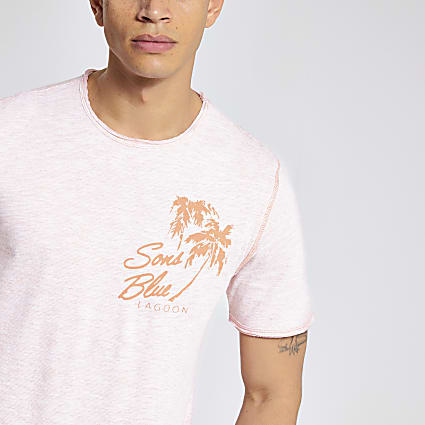 Only & Sons orange palm tree print T-shirt