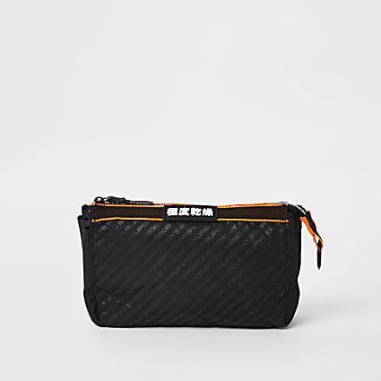 Superdry black wash bag