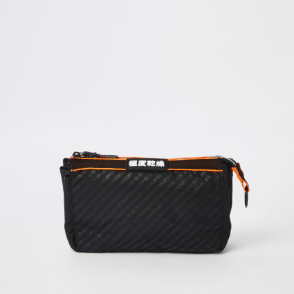 Superdry black wash bag