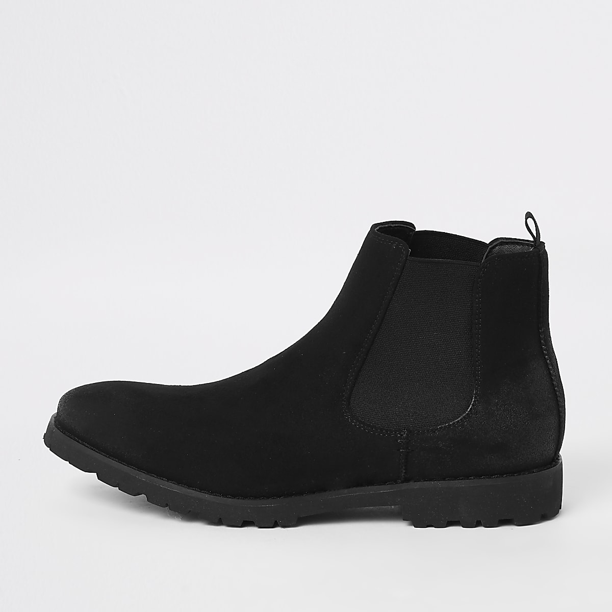 Schwarze Chelsea-Stiefel aus Wildlederimitat