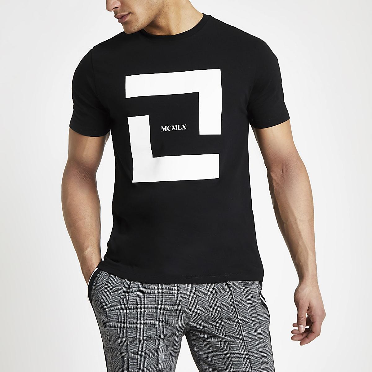 T-shirt slim «MCMXL» noir à manches courtes