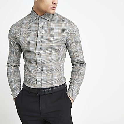 Grey check long sleeve regular fit shirt