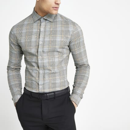 Grey check long sleeve regular fit shirt
