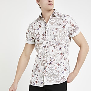 Ecru floral short sleeve shirt