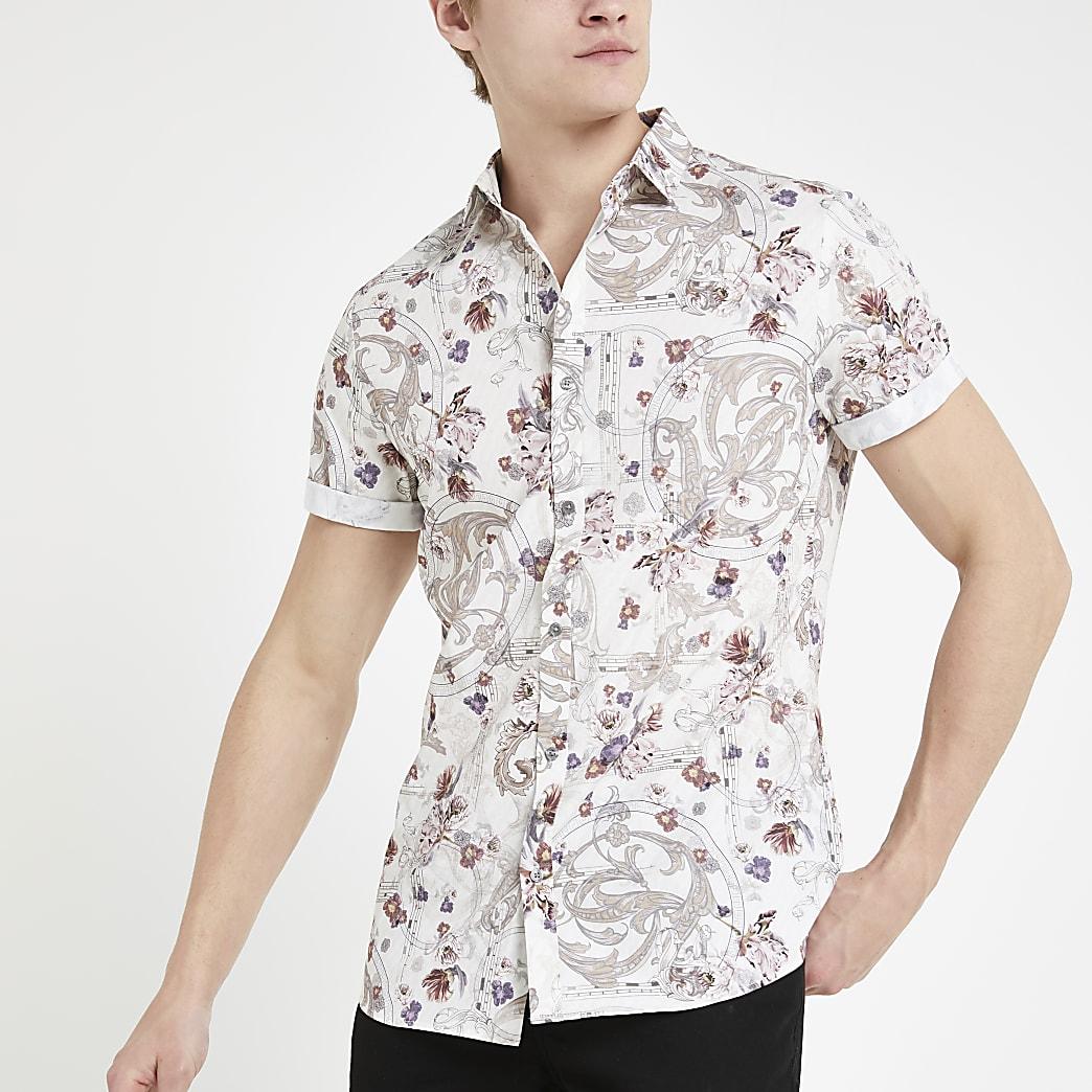 Ecru overhemd met bloemprint, standaard pasvorm en korte mouwen
