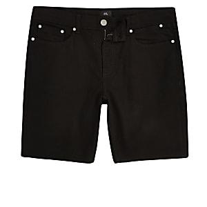 Big and Tall black slim fit denim shorts