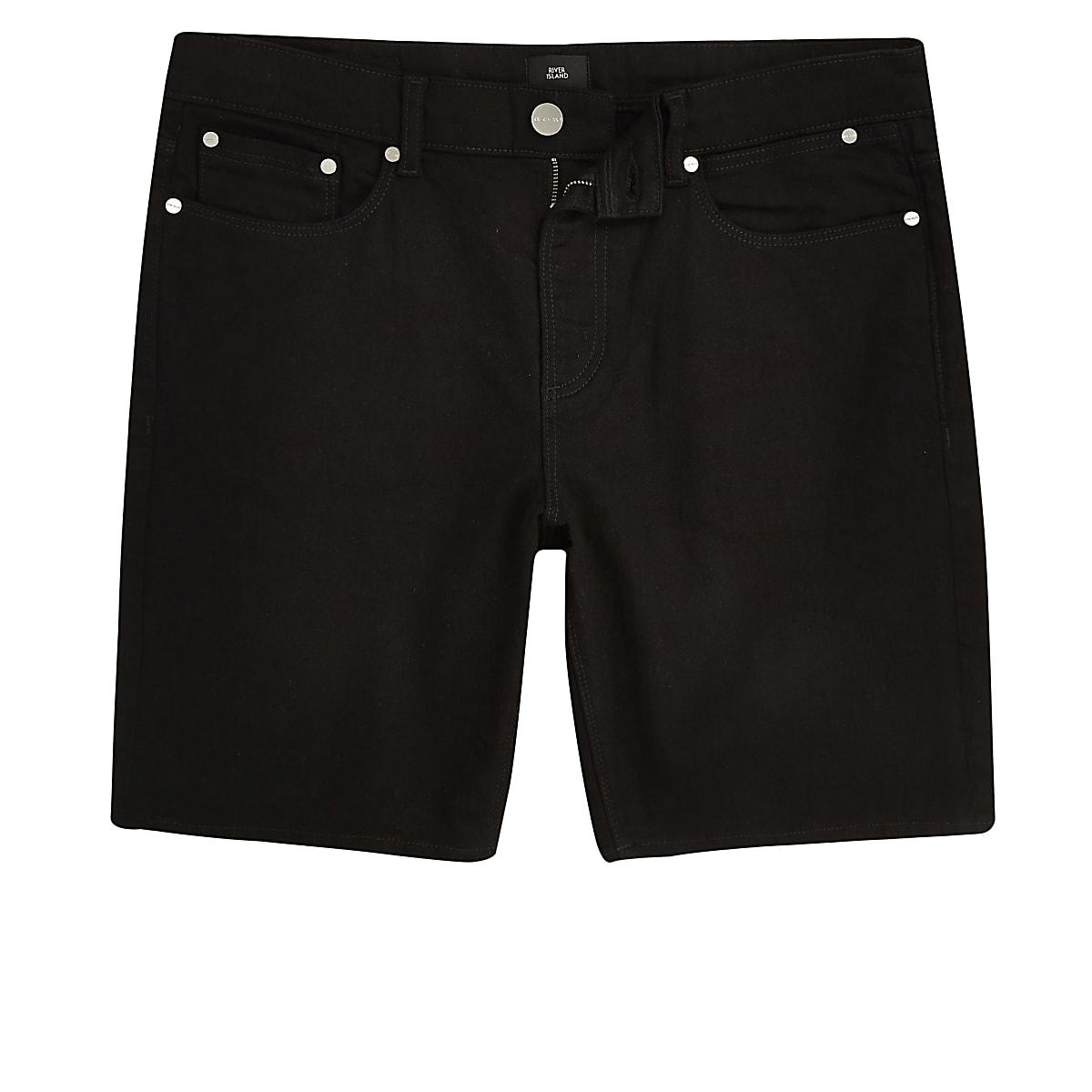Big & Tall - Short en jean slim noir