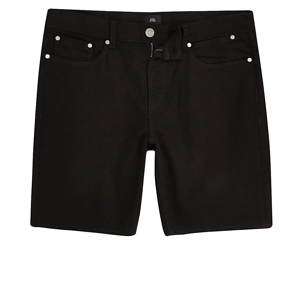 Big & Tall – Schwarze Slim Fit Jeansshorts