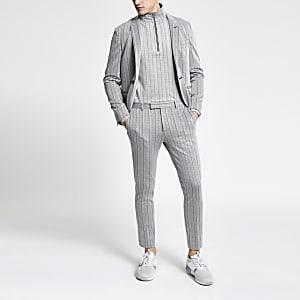 Grijze gestreepte superskinny cropped broek