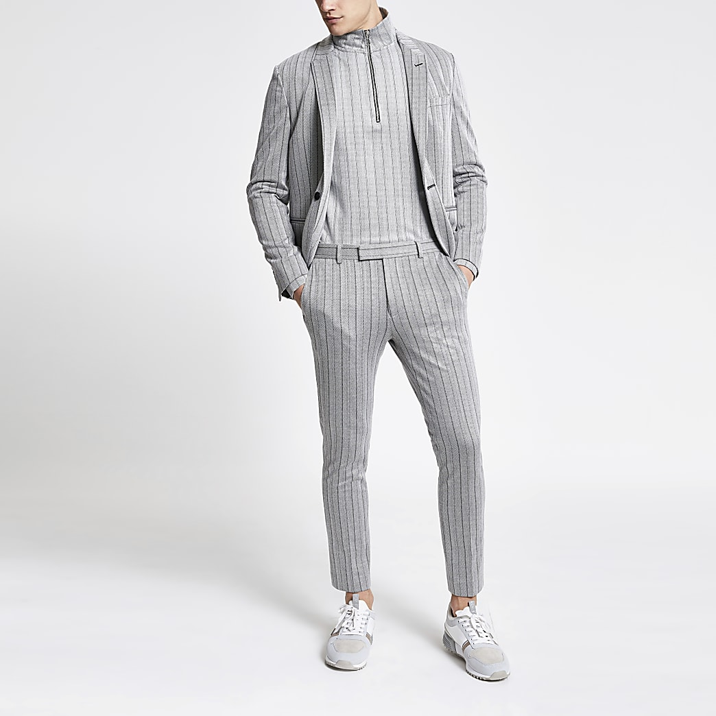 Grey stripe super skinny cropped trousers