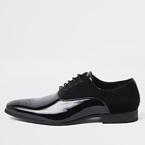 Zwarte fluwelen Oxford brogues met veters