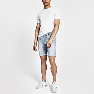 Only & Sons light blue ripped denim shorts