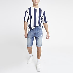 Only & Sons – Blaue Jeansshorts im Used-Look
