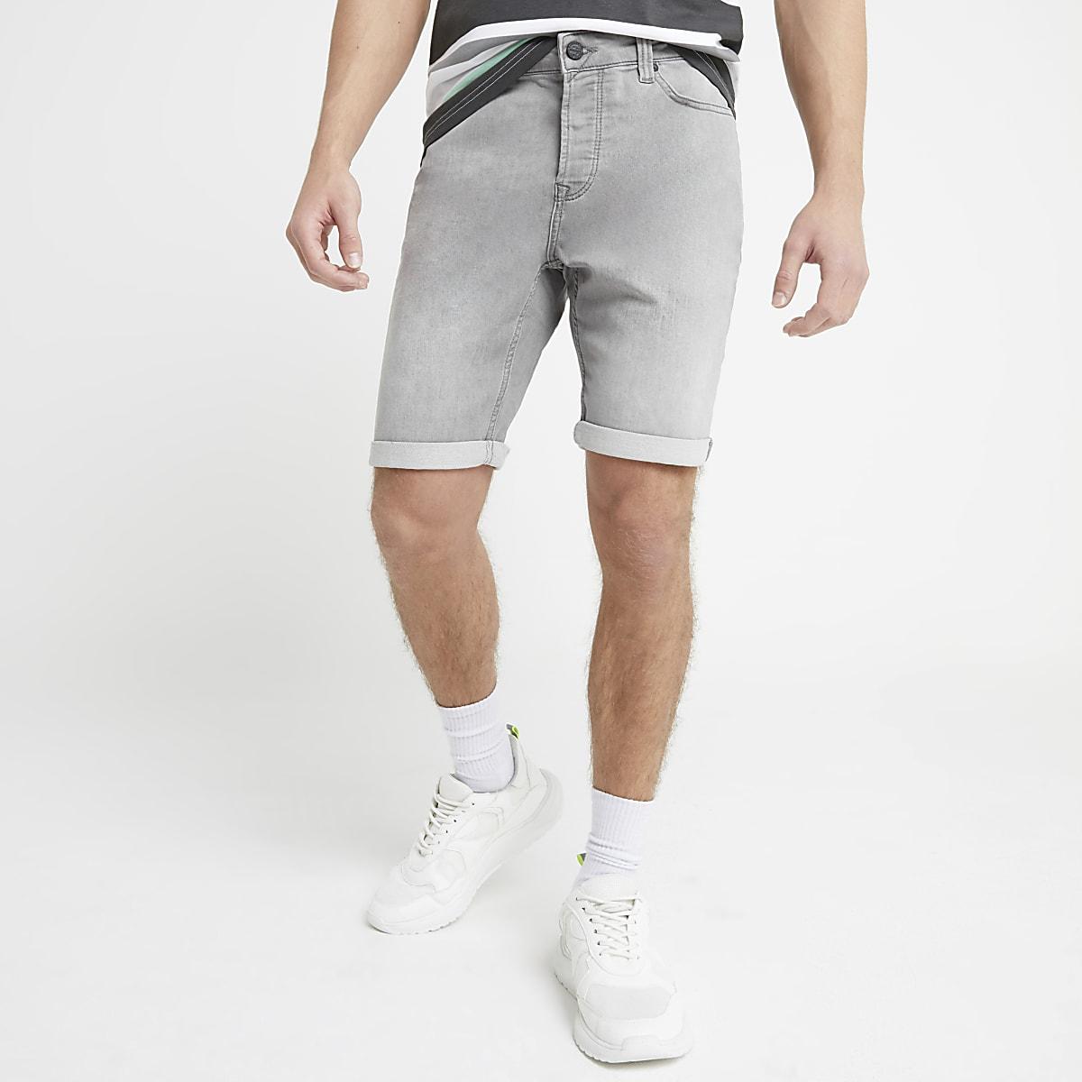 Only & Sons grey denim shorts