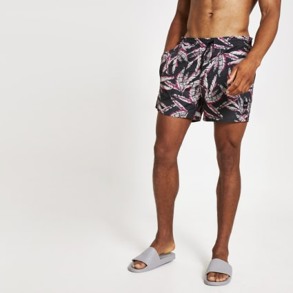 Only & Sons pink leaf printed swim shorts