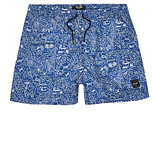 Only & Sons – Blaue Badeshorts mit Doodle-Muster