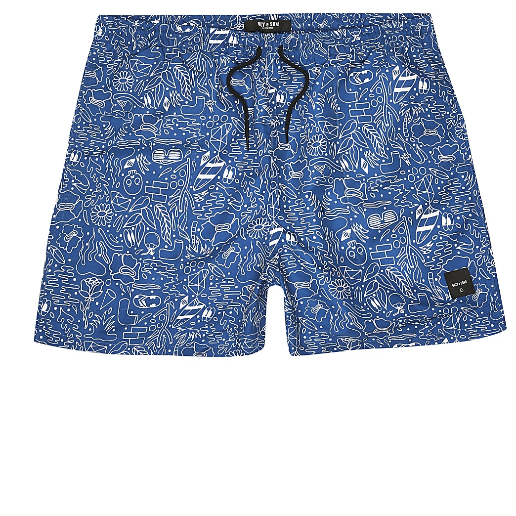 Only & Sons blue doodle printed swim shorts