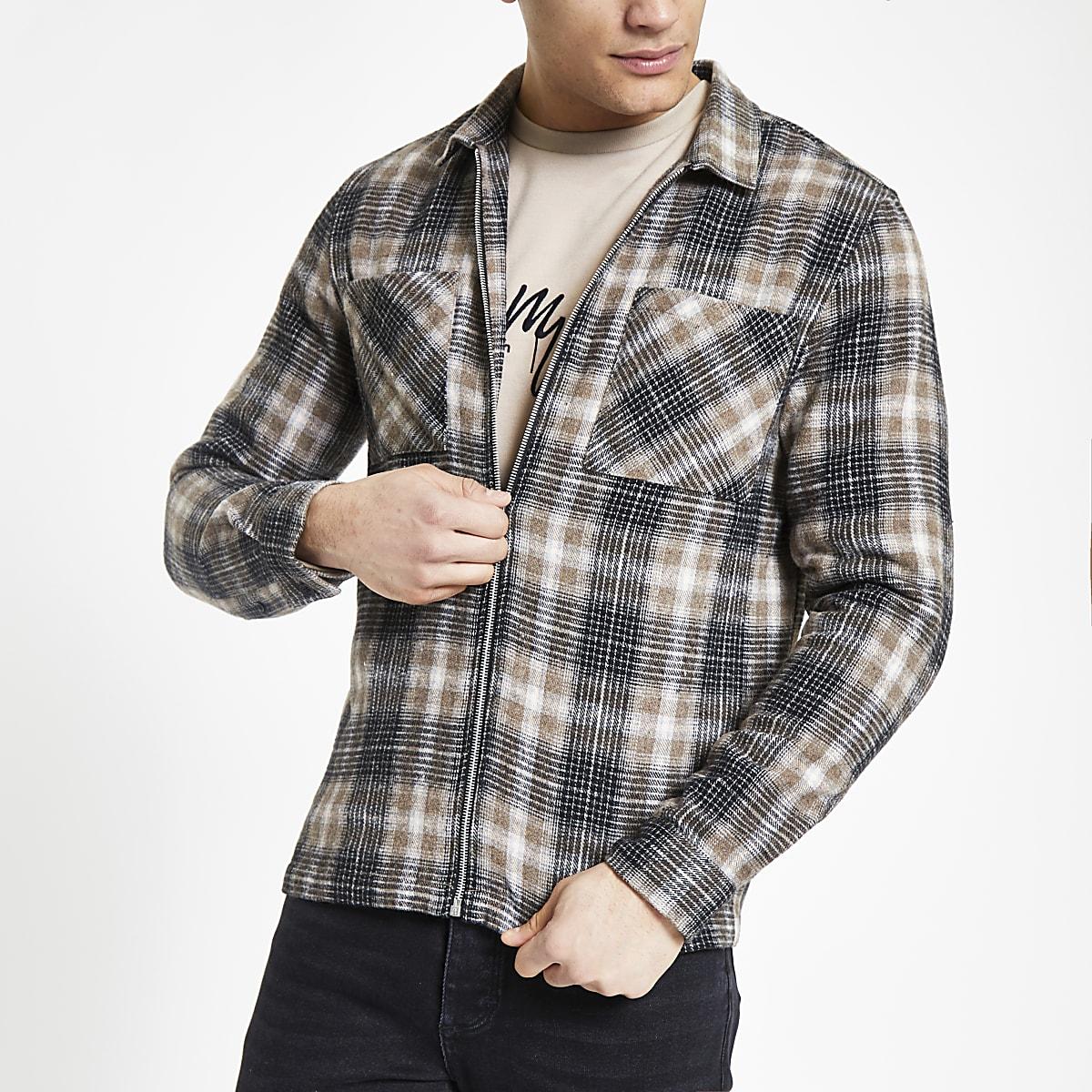Stone check zip front overshirt