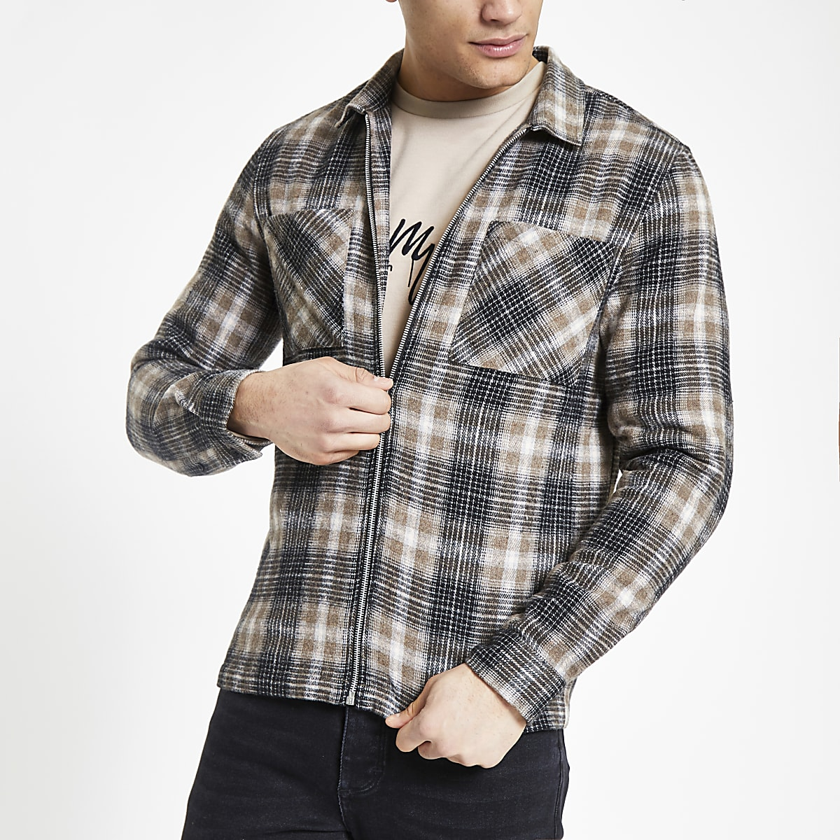 Stone check zip front overshirt