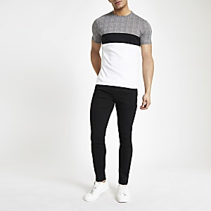 White check print muscle fit T-shirt