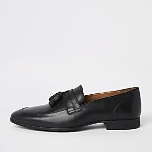 Mocassins habillés en cuir noir à pampilles