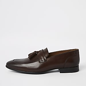 Brown leather tassel smart loafers