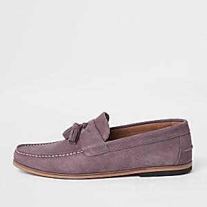 Roze suède loafers met kwastje voor